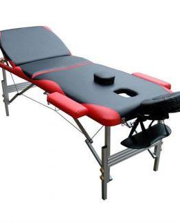 3 delna rdeče-črna ALU masažna miza